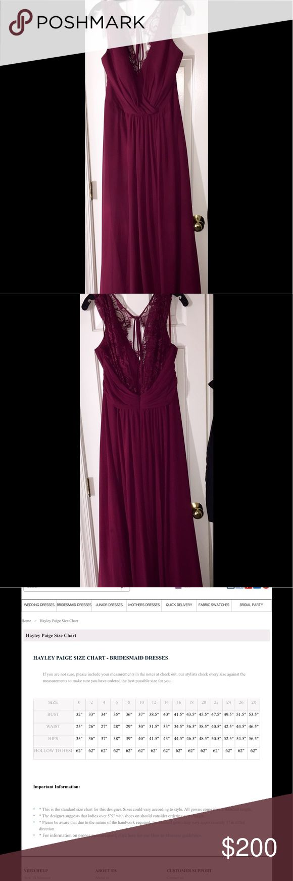 """Hayley Paige Gown Hayley Paige Occasions 5600 - Burgundy chiffon A-line bridesmaid gown, draped V-neckline, natural waist with gathered skirt, lace trim at neckline, cap sleeve, and sheer lace back. This is a totally unworn, unaltered Haley Paige Style #5600 Burgundy Gown. Size 16. Bought as a bridesmaids dress but unfortunately never got to wear it. Has plenty of material on the bottom for tall girls. I'm 5'10"""" and had plenty of extra material at the bottom. hayley paige Dresses Wedding"""