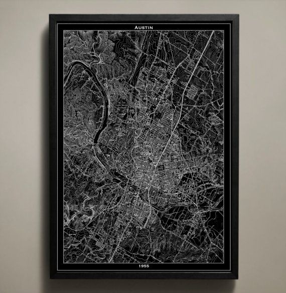 AUSTIN Map Print Austin Texas Black and White Map by GeoArtShed