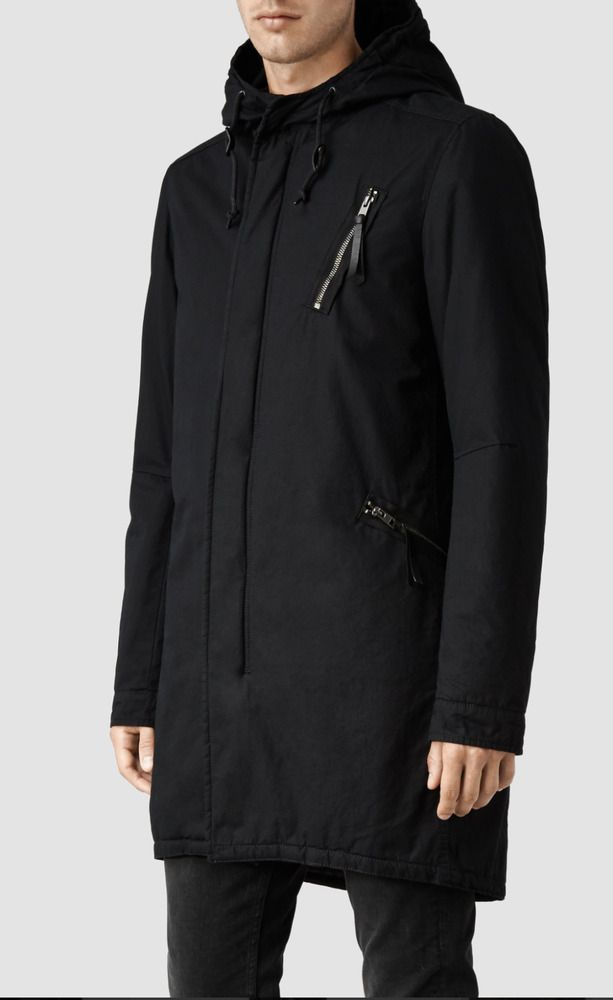 "$540 ALL SAINTS MILITARY STYLE INK,BLACK L ""DATTON PARKA"" COTTON BLEND FISHTAIL 