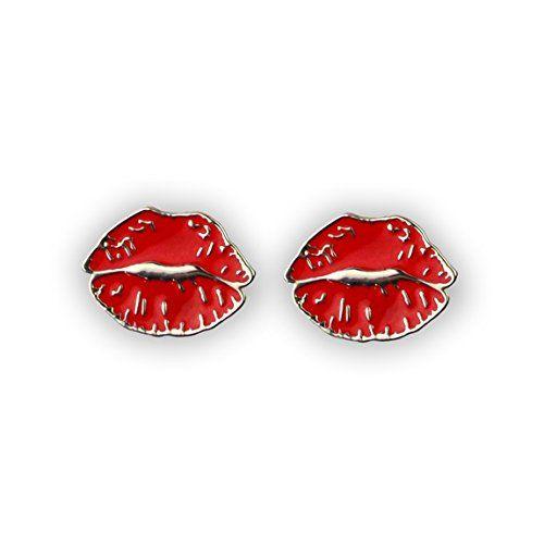 I Em Ji Everything Emoji Red Lips Silver Stud Earrings Cute