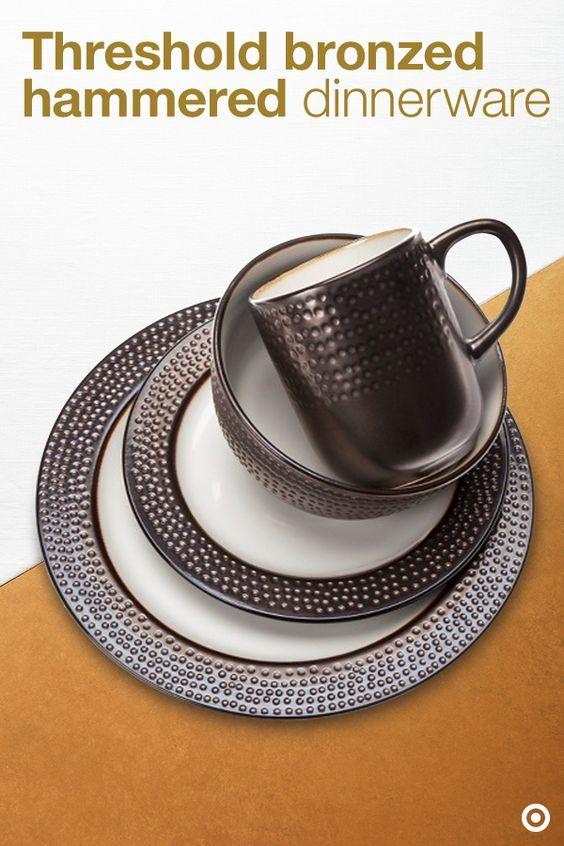 Bronzed Hammered Dinnerware