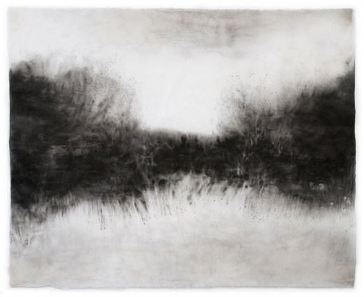 "Untitled (Image 3958), 25""h x 30-1/2""w, water & Sumi ink on handmade kozo paper, 2010/ by   Sky Pape"