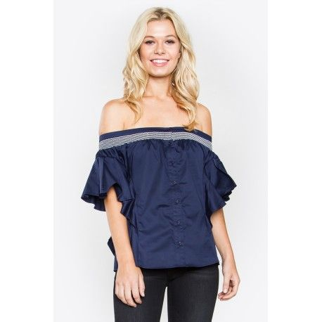 $44.99   Dress up your favorite black bottoms with our Catalina Off The Shoulder Top! We love the popline detail and buttons on the top as it adds a little more oomph to a typical off the shoulder top.  - Popline off the shoulder top with button down front - Ruffles with smocking detail - Lined - Color: Navy  Size + Fit - Model is wearing size S - Measurements taken from size S - Length: 19""