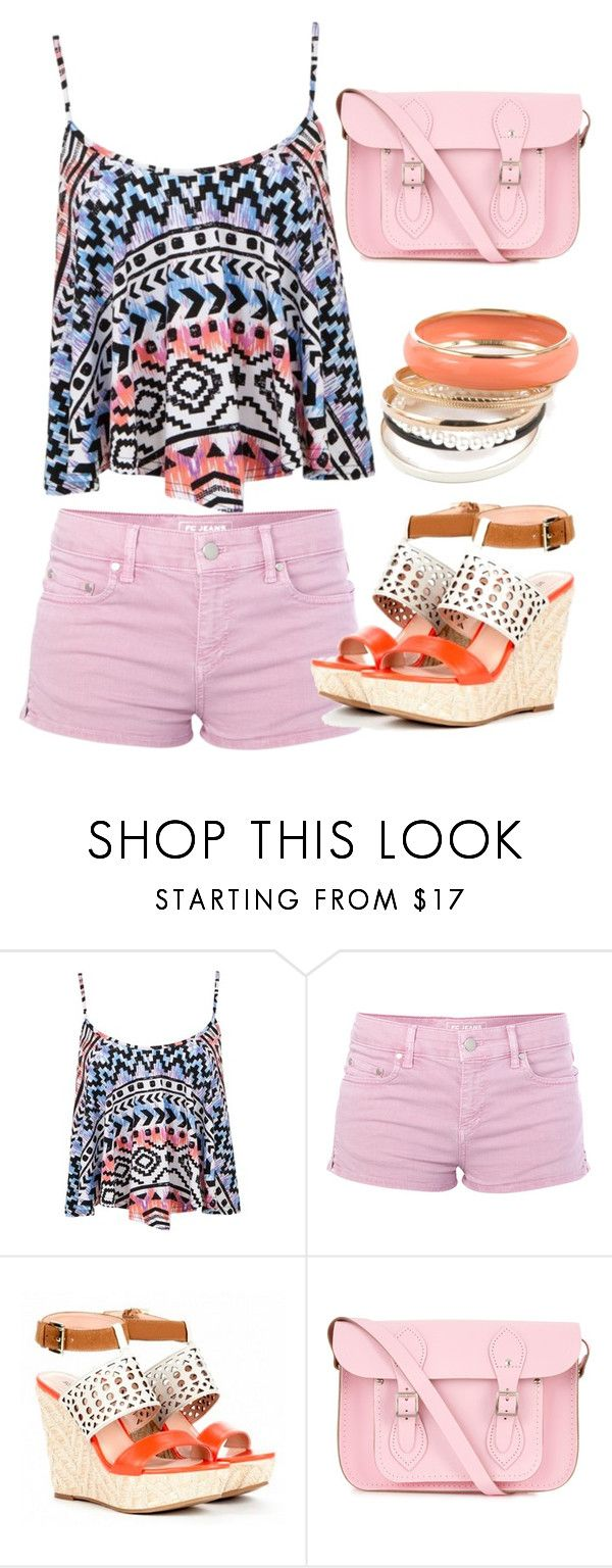 """Pink Pizazz"" by beamazing22 ❤ liked on Polyvore featuring French Connection, Sole Society, The Cambridge Satchel Company, coral, tribal shirt, crop top, pink bag, pink, colored bag and tribal print"