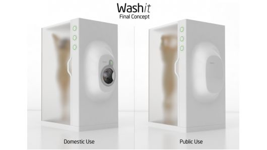 Washit is a concept design for one unit that washes both a person and their laundry simultaneously using the same water.