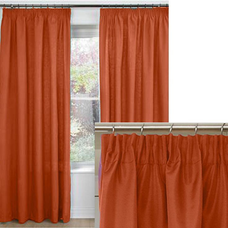 Ember Thermal Pencil Pleat Curtains, door curtains or cushions ORANGE *THERMAL*