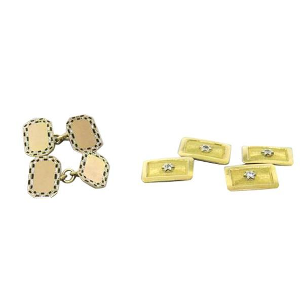 18k 14k Gold Antique Diamond Cufflink Lot of 2 Pairs Available on our August 11th Auction @ hamptonauction.com