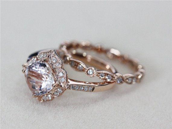 Cushion 7mm Pink Morganite Ring w/ Diamond by AbbyandWills on Etsy