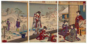 """CHIKANOBU JAPANSK 1838 - 1912  """"A winter scene at court"""" 1885 Japansk fargetresnitt, Ukiyo-e. 35,5x23,5 cm x 3 Signert og datostemplet"""