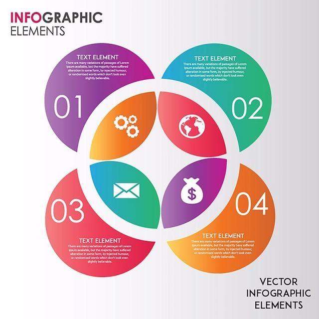 Elegant Circles Vector Ingographics Designs Infograph Step
