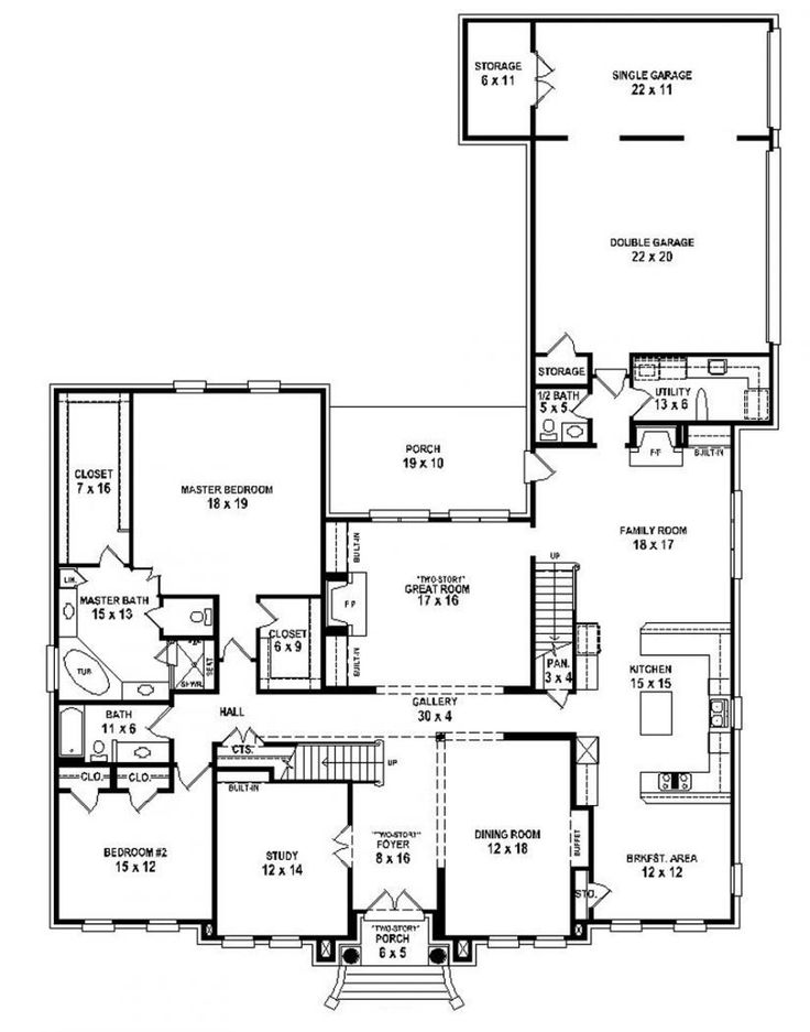 653916 two story 5 bedroom 45 bath traditional style house plan house