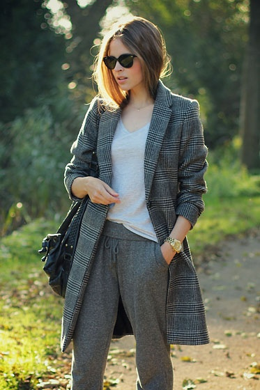 glen plaid top coat with gray slouchy pants