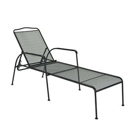 Garden treasures davenport mesh seat steel patio chaise for Blue mesh chaise lounge