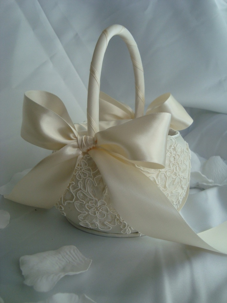 Flower Girl Baskets Ivory Uk : Ivory alencon lace flower girl basket