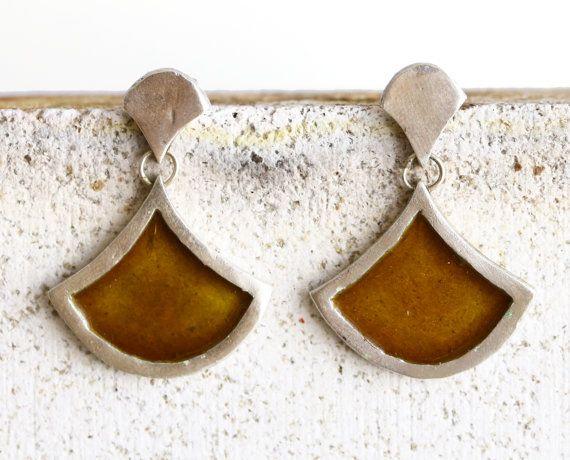 Enamel yellow silver earrings