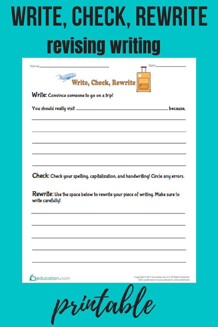 Write Check Rewrite Worksheet Education Com Teaching Writing Elementary Writing Writing Skills [ 1102 x 735 Pixel ]