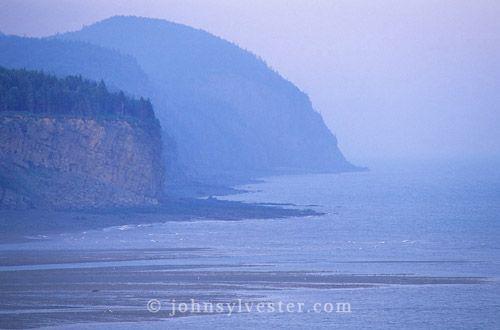 coastal cliffs;fog;Alma;Bay of Fundy;New Brunswick;Canada;landscape;scenic;seascape;shore