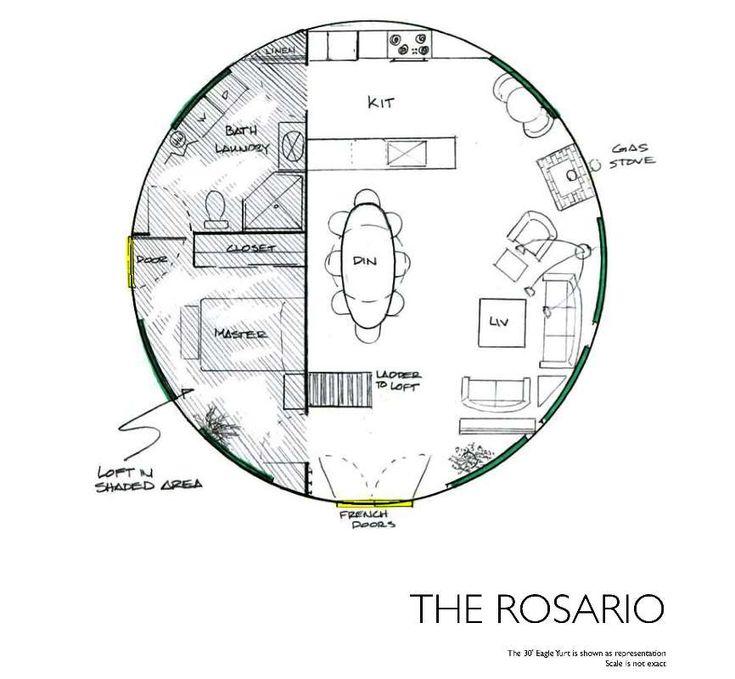Yurt floor plans the rosario cabin pinterest for Yurt building plans