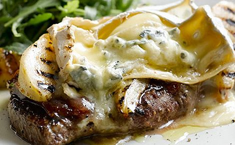 Grilled sirloin steak with quince, pears and Cotswold Blue Brie