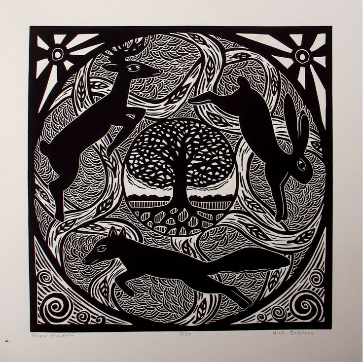 Forest Mandala - Nicola Barsaleau: Nicolas Barsaleau, Mandala Originals, Blocks Prints, Google Search, Forests Mandala, Linocut Mandala, Relief Linocut, Forests Linocut, Originals Relief