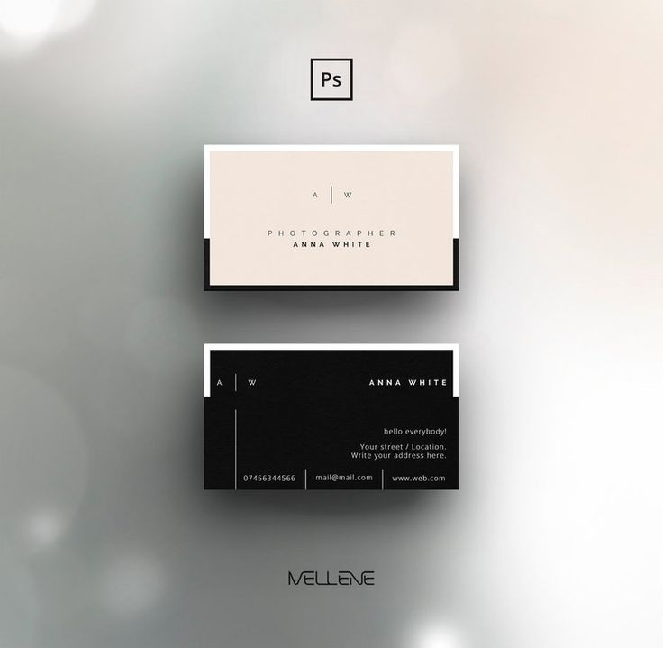 Business card template for Adobe Photoshop / PSD file. Minimalist / clean / elegant / double - sided design. Fully adjustable