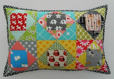 Love the charm squares and bright colors!Fabulous Fabrics, Paper Piece, Piece Pillows, Fabulous Pillows, Fabrics Tuesday, Quilt Pillows Cases, Diy Pillows, Pillows Crafts, Patchwork Pillows