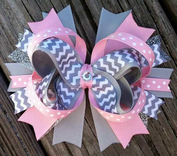 PINK and GRAY Chevron Hair Bow with Grey Chevron Ribbon and Gem