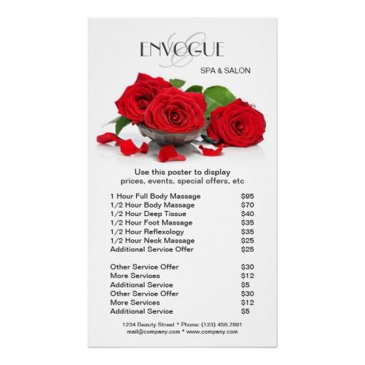 Red roses beauty salon price list template poster price for X salon mulund rate card