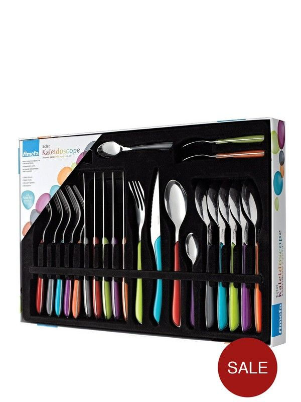 Amefa Eclat Kaleidoscope 24 Piece Cutlery Set Amefa 24 Piece Eclat Kaleidoscope Cutlery Set for 6 people Trust tableware experts Amefa to give your dining room a splash of colour with their Eclat Kaleidoscope cutlery set.The high grade stainless steel set features handles in an array of colours including lime green, turquoise and orange for a multi-coloured dining experience. They're dishwasher safe too, so you can eat and then relax.The set includes:- 6 dining forks - 6 dining knives - 6...