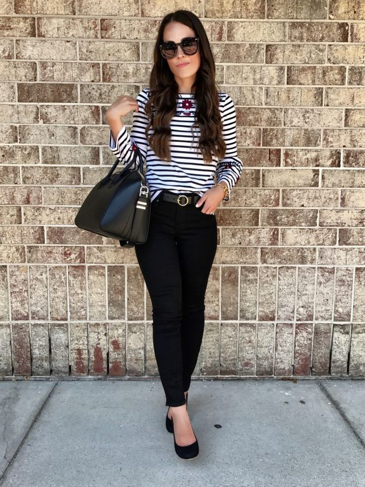 Fall outfit | Striped embroidered top outfit