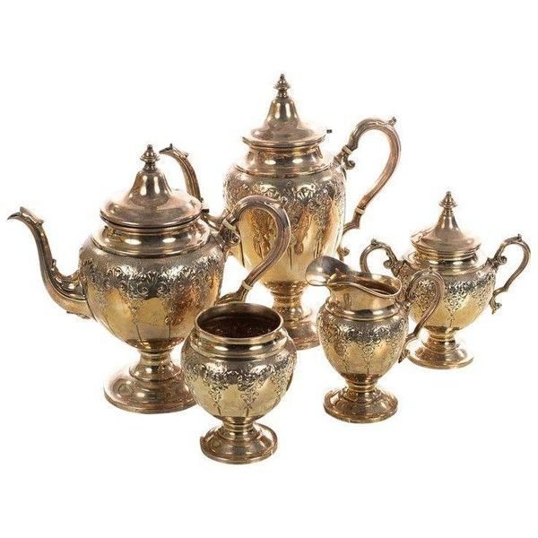 Sterling Silver Beautiful Antique Victorian Tea Set - Set of 5 (623.640 HUF) ❤ liked on Polyvore featuring home, kitchen & dining, teapots, coffee & tea service, tea-pot, sterling tea set, tea sets, sterling silver teapot and sterling silver tea pot #SterlingSilverTeaService