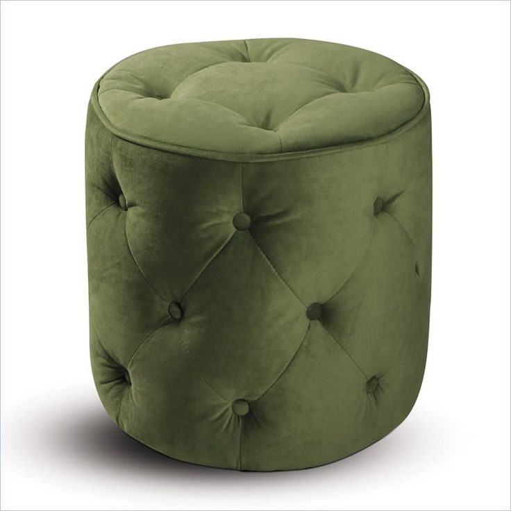 Avenue Six Curves Tufted Round Ottoman in Spring Green Velvet - This gorgeous ottoman is the perfect accent piece in a living room or bedroom. The unusual tufted details and green velvet upholstery are sumptuously sophisticated details.Decor, Spring Green, Curves Tufted, Interiors Design, Colors Palettes, Tufted Round, Pink, Tufted Ottoman, Round Ottoman