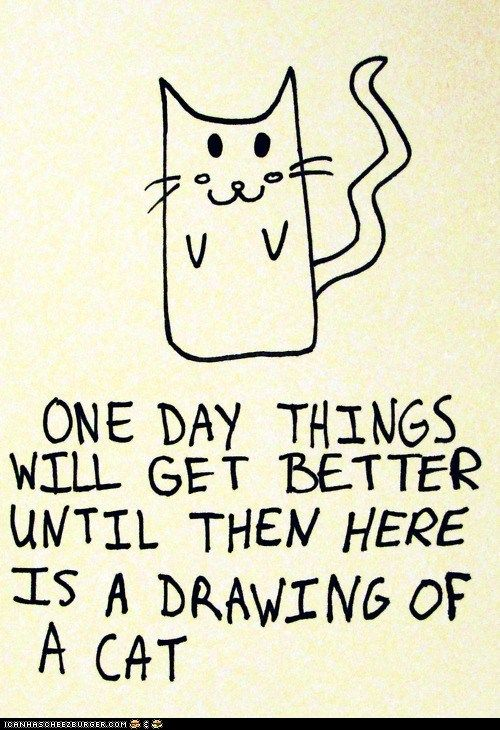 I need to keep this in mind...: Picture, One Day, Cute Animal, Kitty Cats, Cats Drawings, Silly Animal, Bad Day, Feeling Better, Make Me Smile
