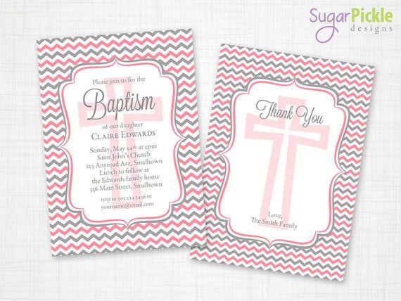 Baptism Invitation, Chevron Invitation, Christening Party Invite, Pink Chevron Invite, PRINTABLE