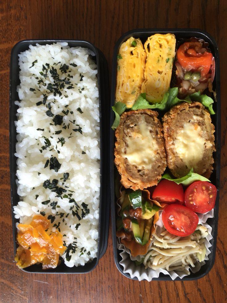 Obentou 2016.6.27 チーズ入りメンチカツ&えのきとキャベツのバター炒め&パプリカのマリネ