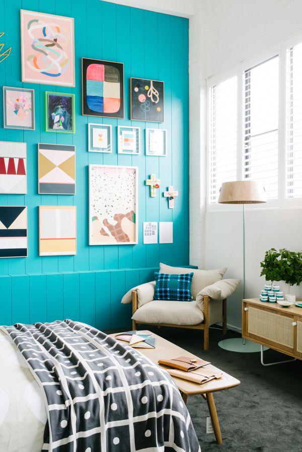 turquoise wall + art LOVE