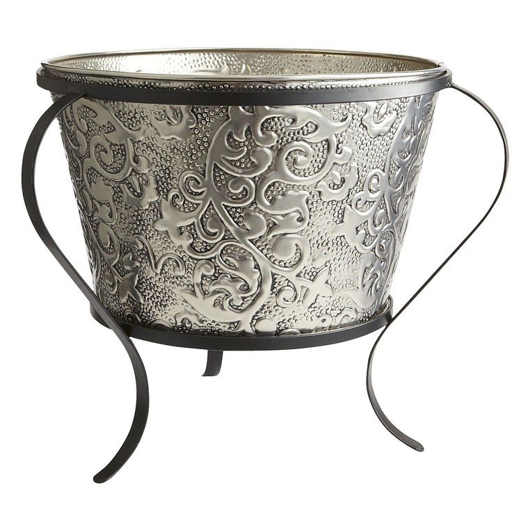Floral Embossed Beverage Tub With Stand Outdoor Living