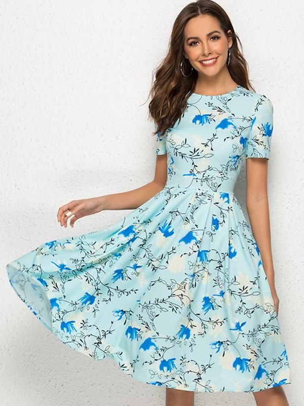 Casual Dress Dress For Women Womens Retro Loose Fitting Printed Floral Silk Polyester A Line Dress With Pockets Long Dress Silk Dress