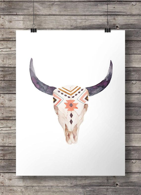Watercolor Aztec tribal Bull Cow Skull -  Printable southwestern watercolor skull wall art  - Instant download digital print