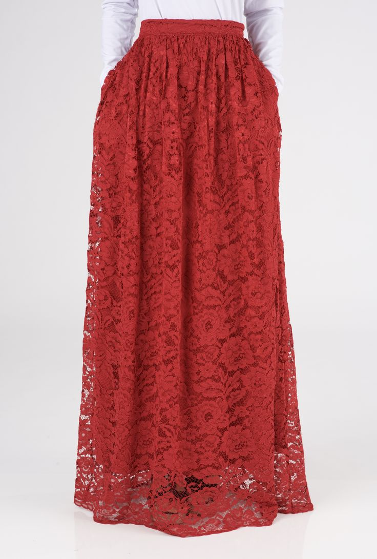 Red Garden lace Maxi skirt