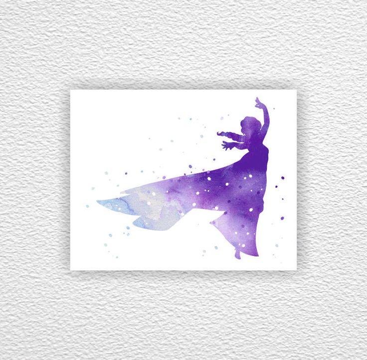 Elsa silhouette, Frozen silhouette, Disney silhouette, Watercolor Art Print 8х10, Girl Room Decor Art, digital Download by myfavoritedecor on Etsy https://www.etsy.com/listing/216276891/elsa-silhouette-frozen-silhouette-disney