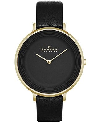Skagen Women's Ditte Black Leather Strap Watch 30mm SKW2286