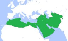 The Umayyad Caliphate on the eve of the invasions of Spain and Sindh in 710.
