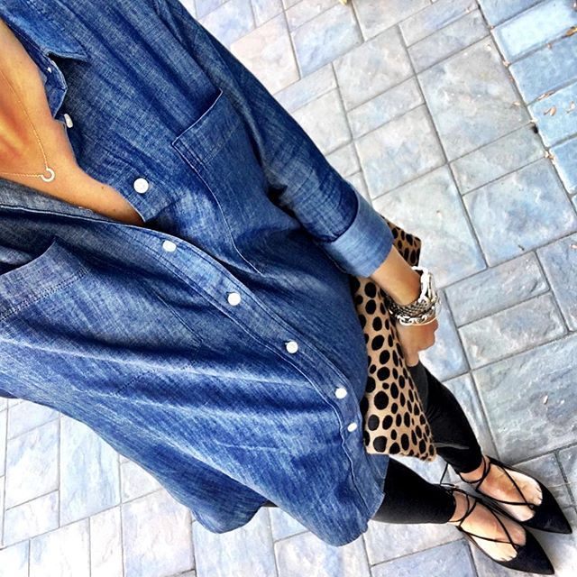 IG @mrscasual <click through to shop this look> Loft maternity soft chambray tunic.  Black Leggings.  Lace up flats.  Clare V leopard fold over clutch.