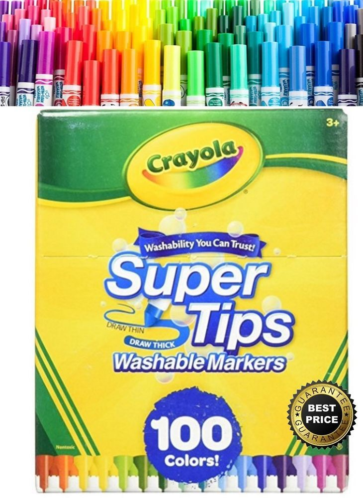 Crayola Washable Markers Super Tips 100 Count Big Box Supertips