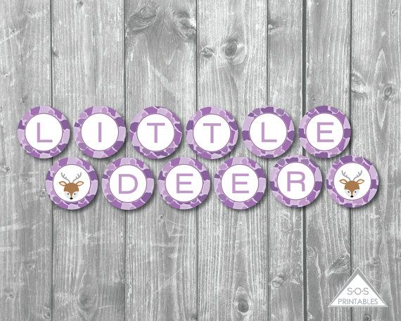 Little Deer Banner, Little Deer Baby Shower, A little Deer is almost here, Baby Shower Banner, Purple Camo baby shower, camouflage