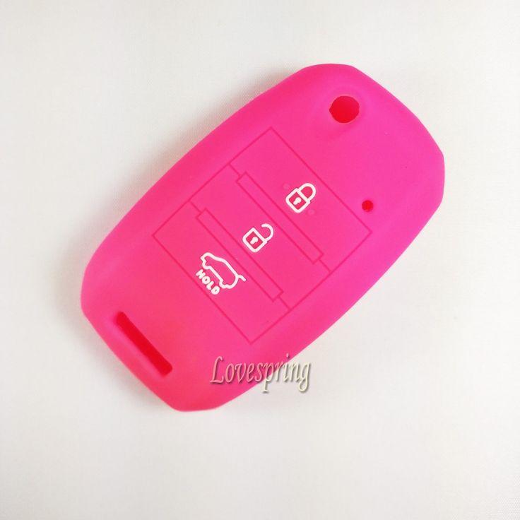 Pink SILICONE Flip CAR KEY COVER CASE For KIA Rio Sorento Sportage Picanto Soul Amanti Forte 3 buttons folding flip key