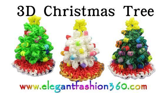 Rainbow Loom Christmas Tree 3D and Skirt Charm Holiday.Ornaments- How to Loom Band tutorial