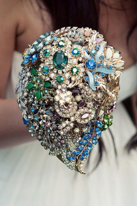 """This gorgeous jewelry bouquet could double as a brides """"something borrowed, something blue"""""""