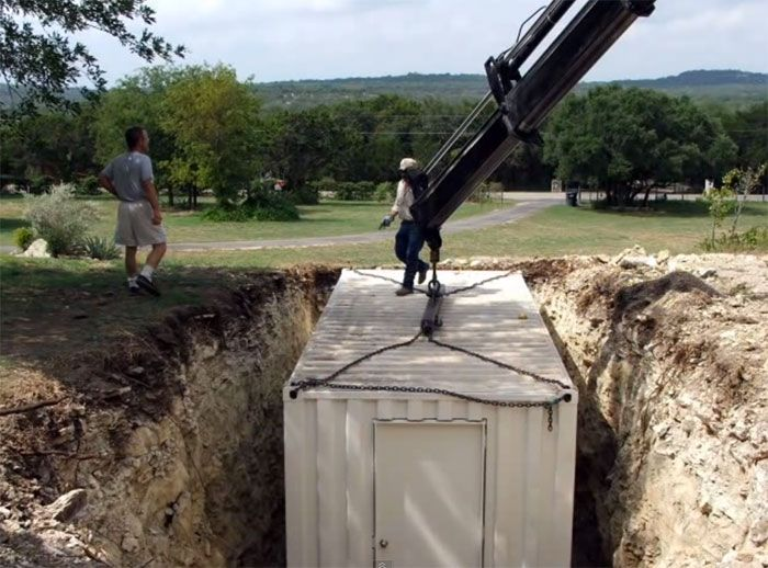 Shipping container- bomb shelter, wine cellar, root cellar...                                                                                                                                                                                 More
